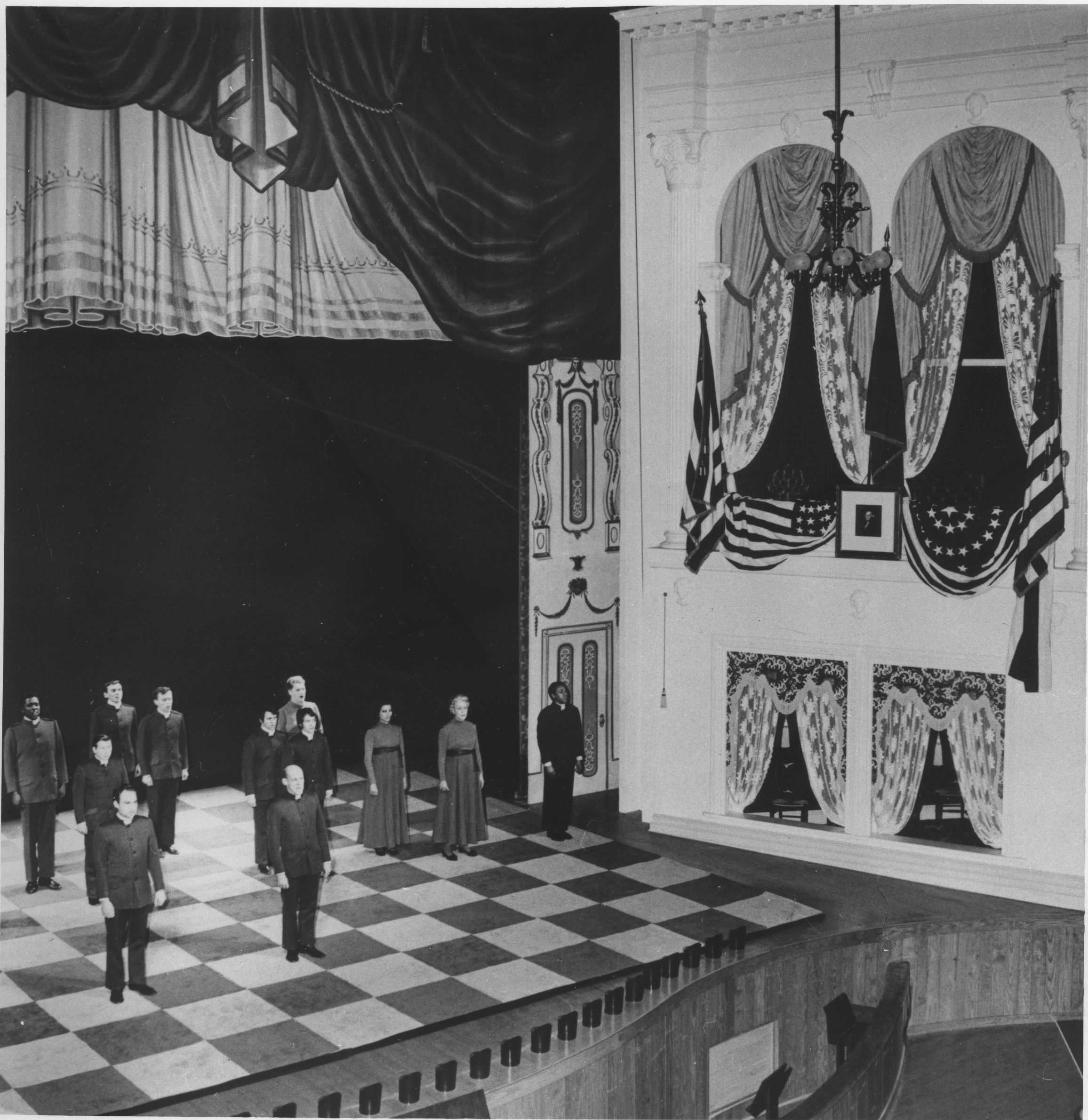 Image of the interior of Ford's Theatre and the cast of the 1968 production of  John Brown's Body dispersed across the stage.