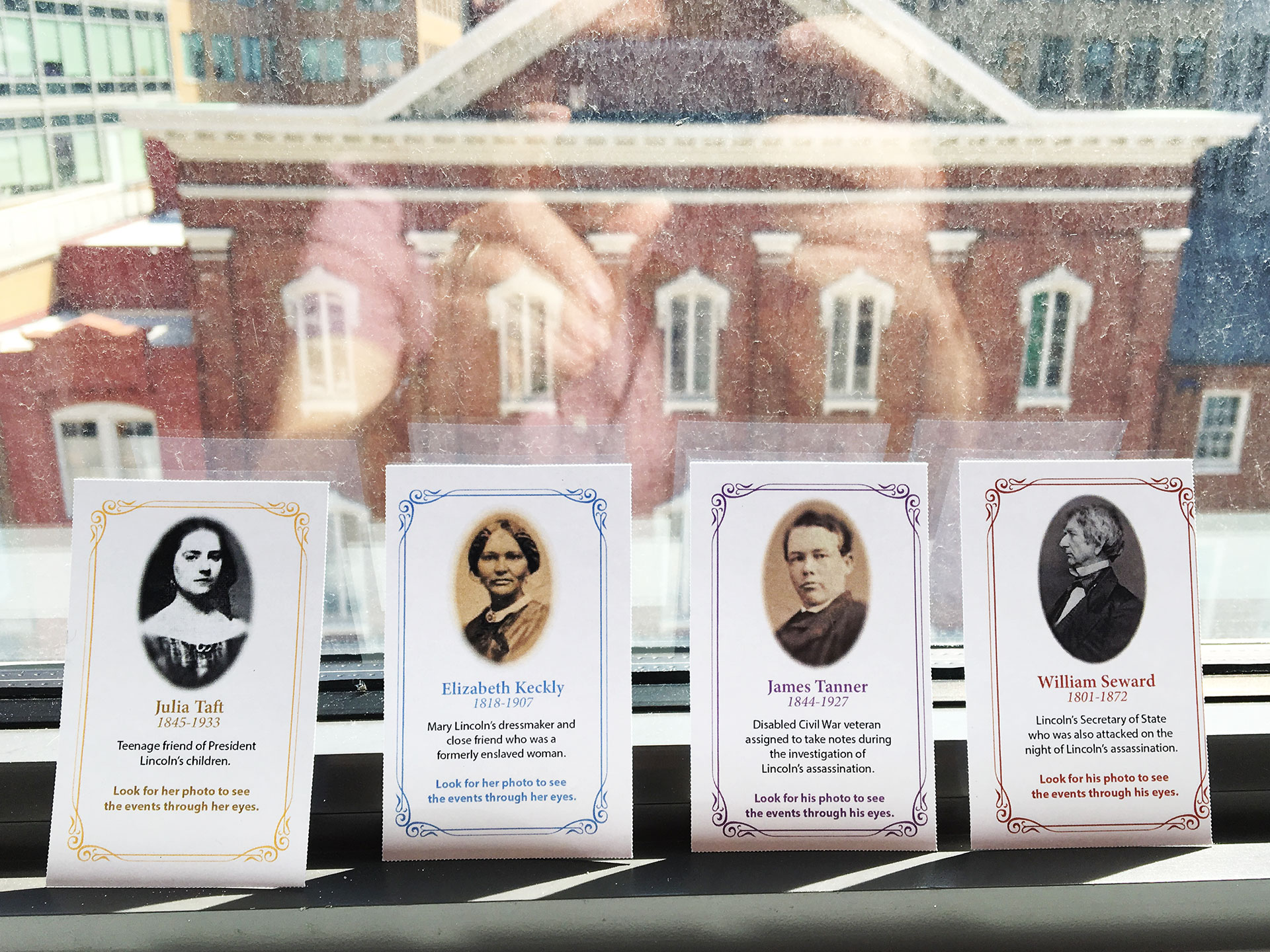 The tested character cards feature a portrait of each person and their name. Left to right: Julia Taft, Elizabeth Keckly, James Tanner and William Seward.