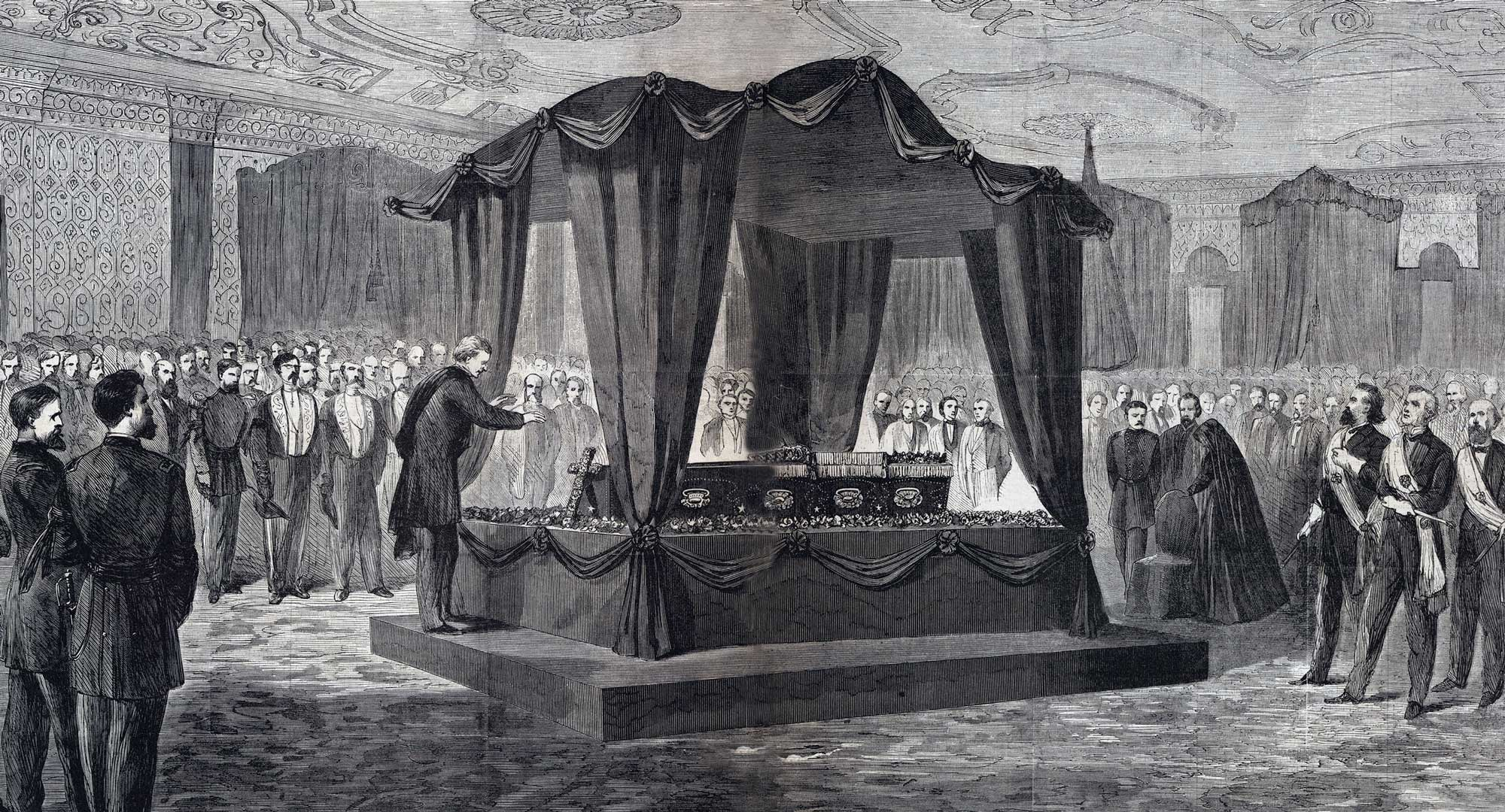 Pencil sketch of White House funeral showing catafalque and casket for President Abraham Lincoln