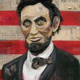mixed media art picture of Abraham Lincoln featuring a red-and-white striped background and a larger head-and-shoulders portrait of Lincoln in suit jacket and bowtie
