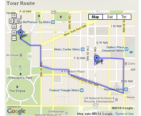 Map of downtown D.C. showing the route of the Investigation: Detective McDevitt walking tour.