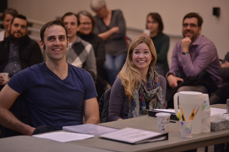 Danny Gavigan and Maggie Wilder in rehersal.
