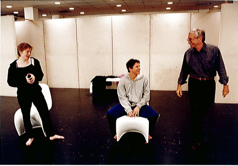 In rehearsal for The Play About the Baby at Alley Theater, Rebecca Harris, David Burkta and Edward Albee, 2000. Photo by T. Charles Erickson.