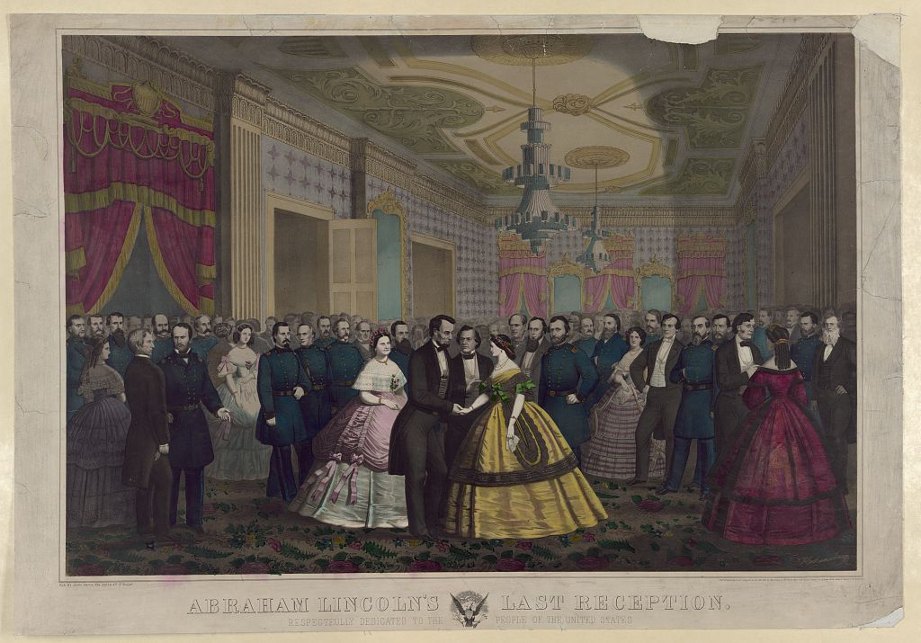 Sketch of Abraham Lincoln shaking hands with several young women at his Inaugural Ball.