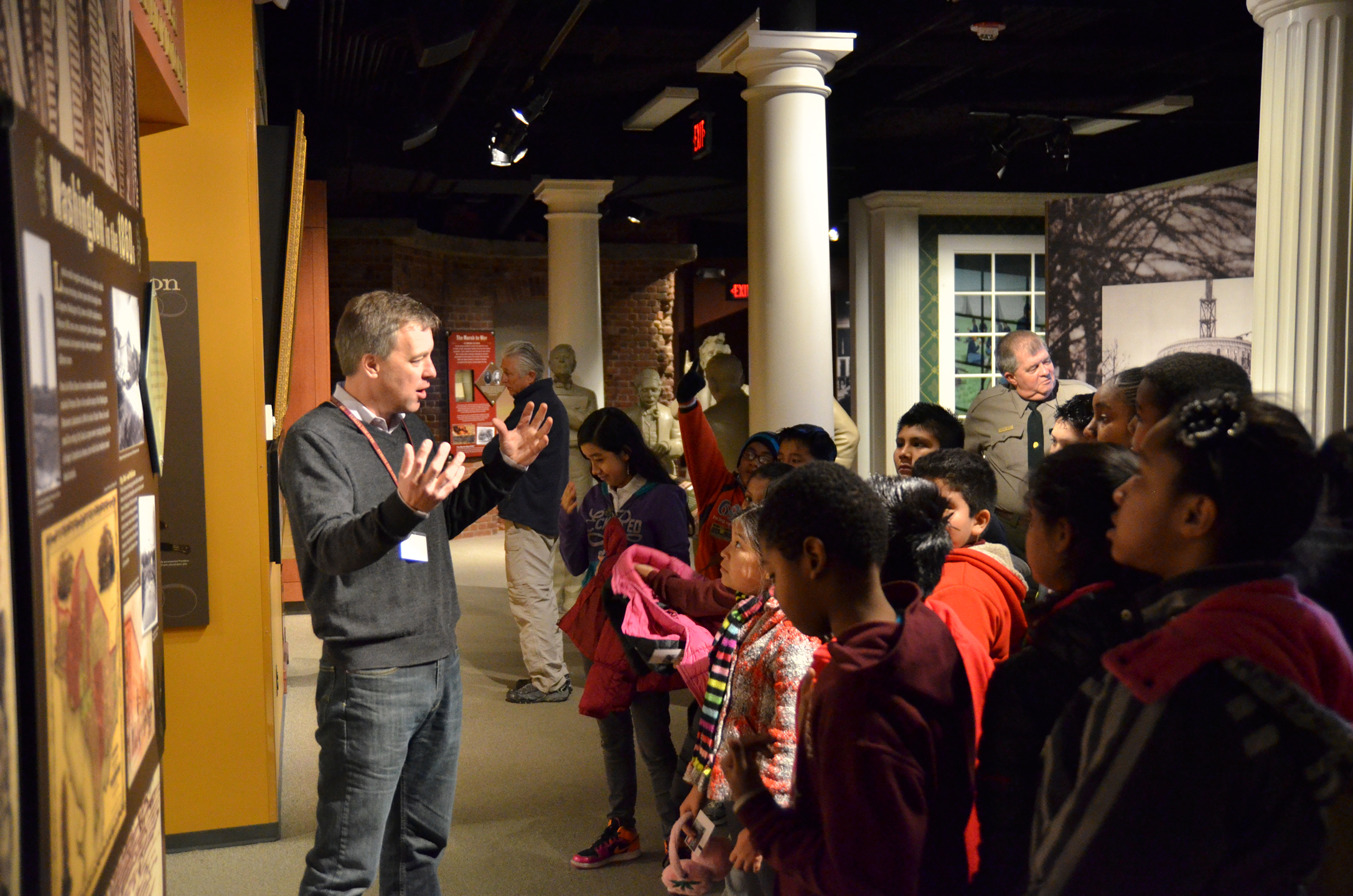Ford's Theatre education staff leads of tour of the museum for elementary school students.