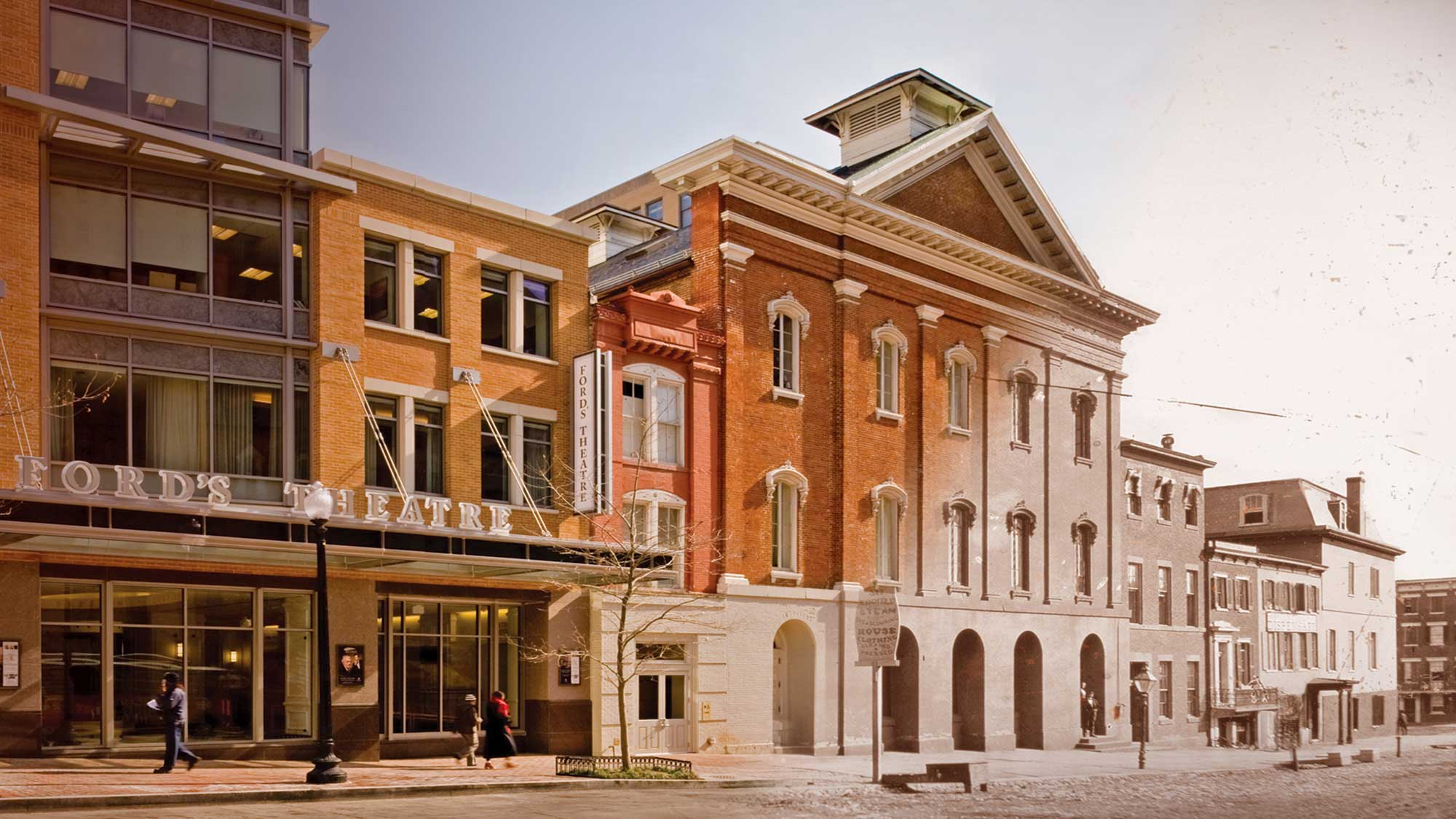 Photo of Tenth Street NW showing the facade of the new Ford's Theatre lobby entrance (2009) and a historic Ford's Theatre facade.