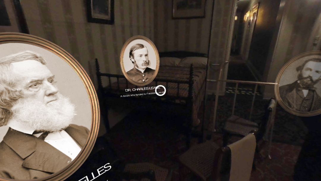 Sepia image of the TimeLooper App showing portraits of those who were present in the Petersen House when Abraham Lincoln lay dying.
