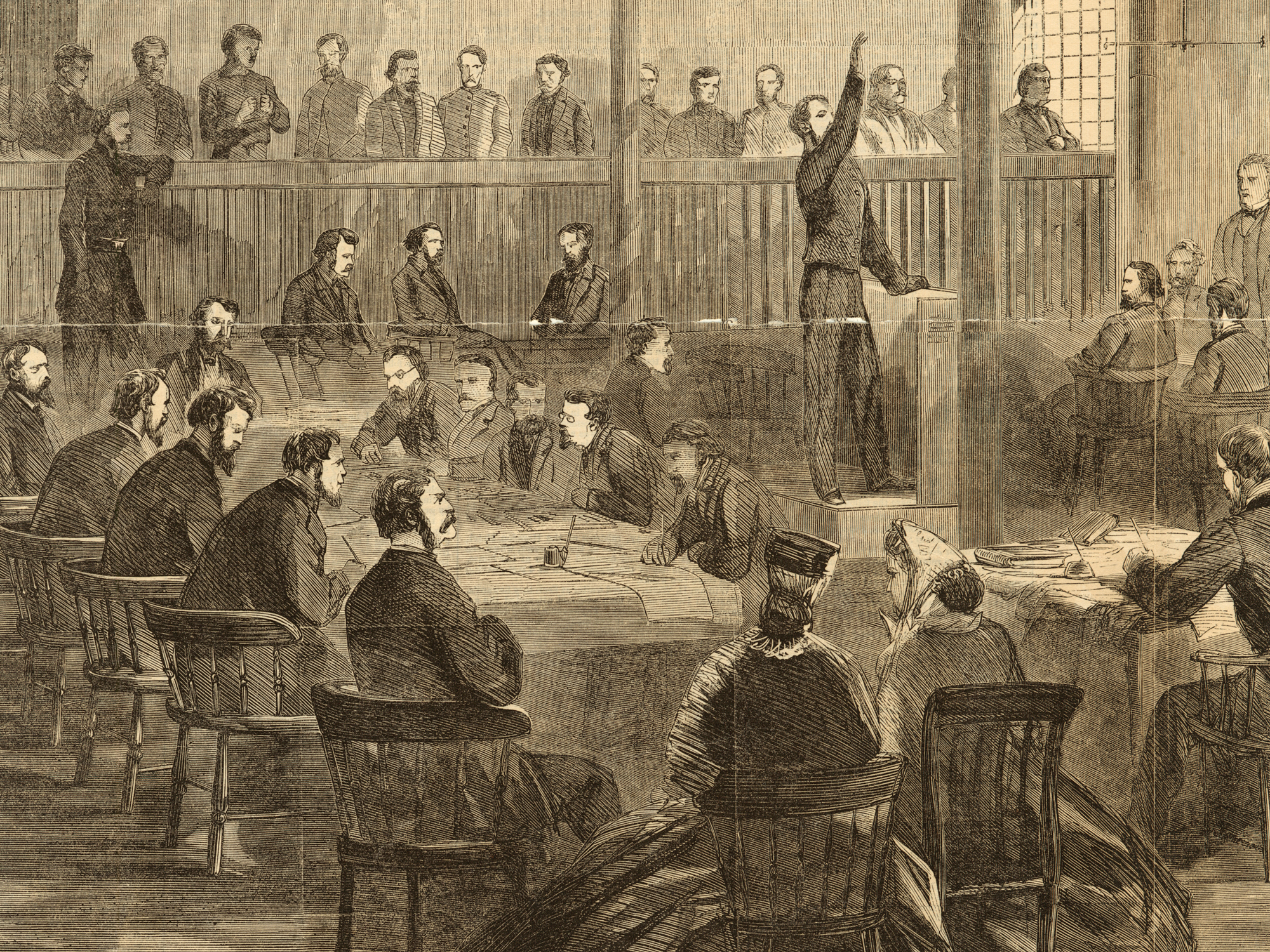 Wood engraving from June 1865 newspaper showing the courtroom at the Old Penitentiary in Washington, D.C., during the trial of the conspirators.