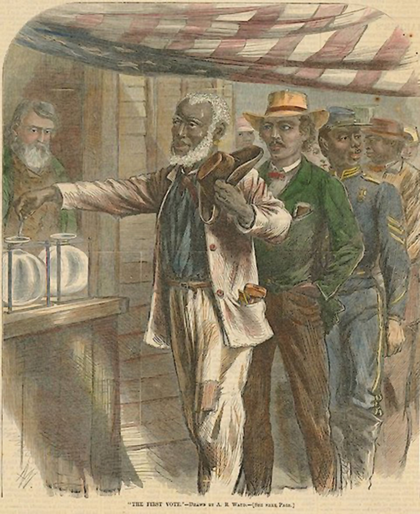 African Americans vote for the first time, as depicted in 1867 on the cover of Harper's magazine. Engraving by Alfred R. Waud