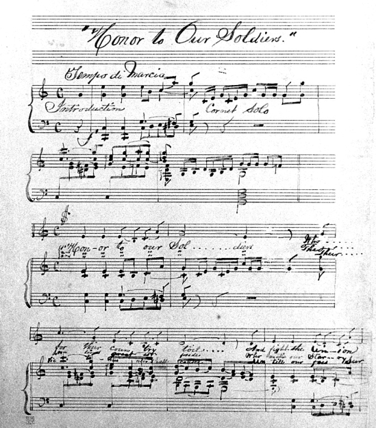 "Pencil written sheet music by William Withers' for his new piece, ""Honor to our Soldiers."""