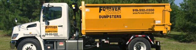 dumpster rental on back of forever clean truck