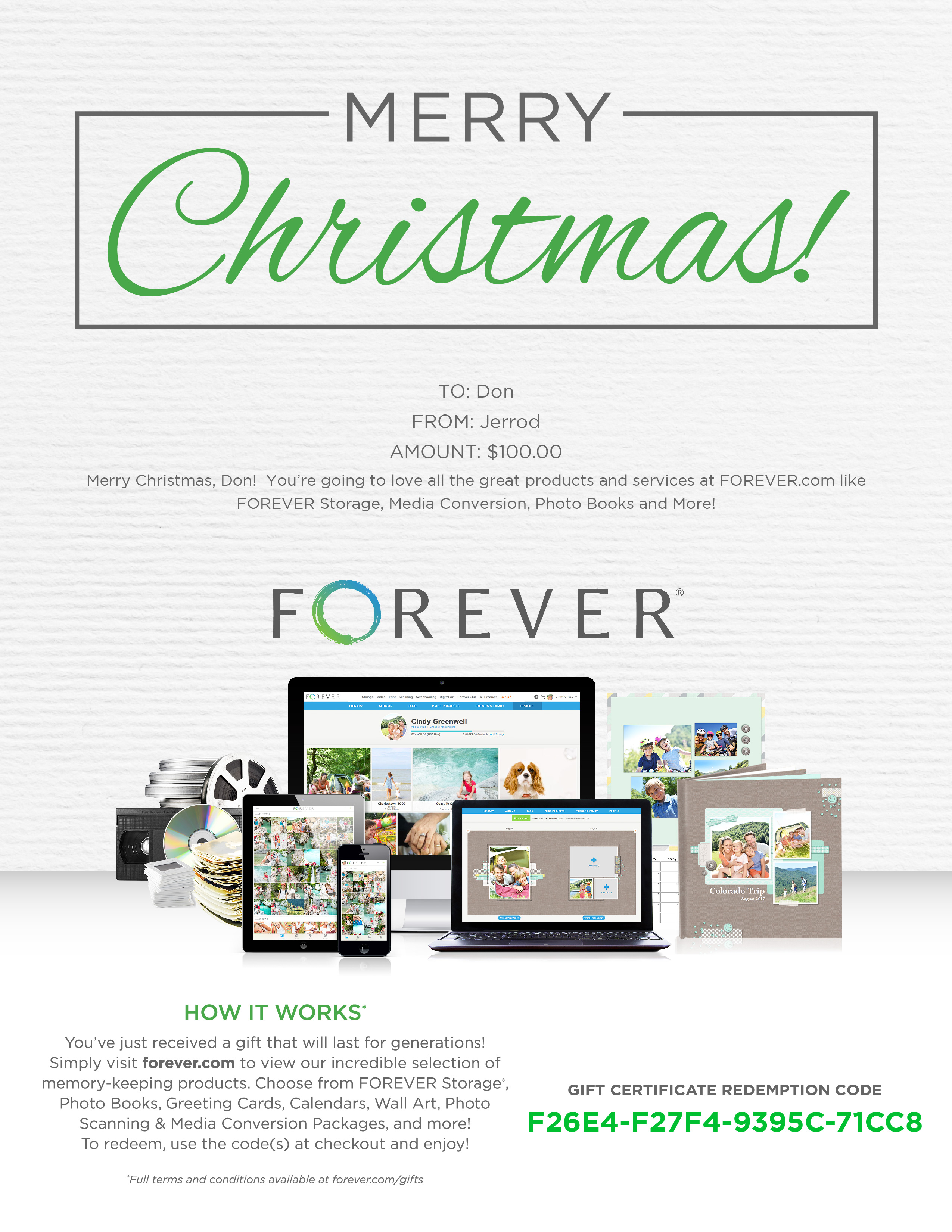 FOREVER Gift Certificate - Merry Christmas