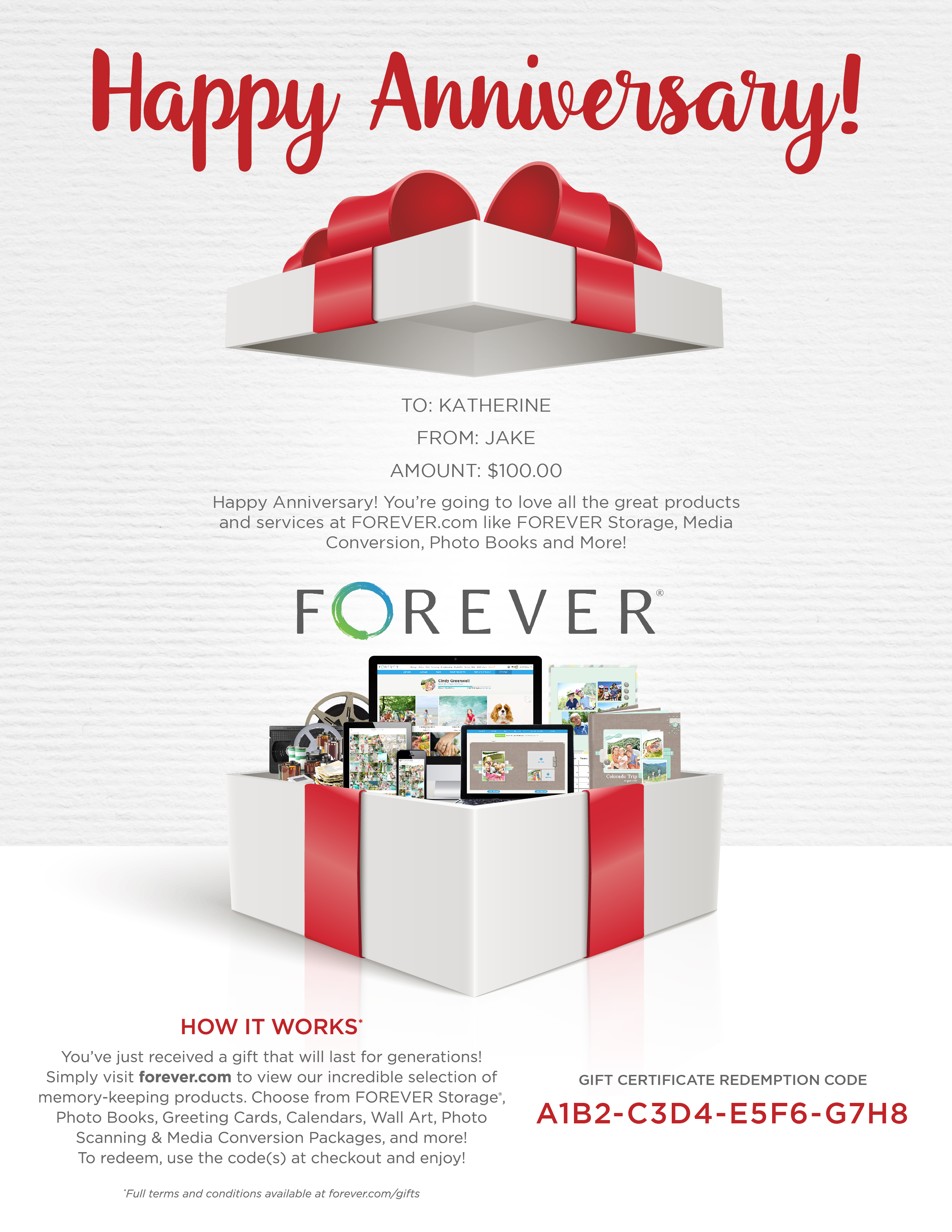 FOREVER Gift Certificate - Anniversary