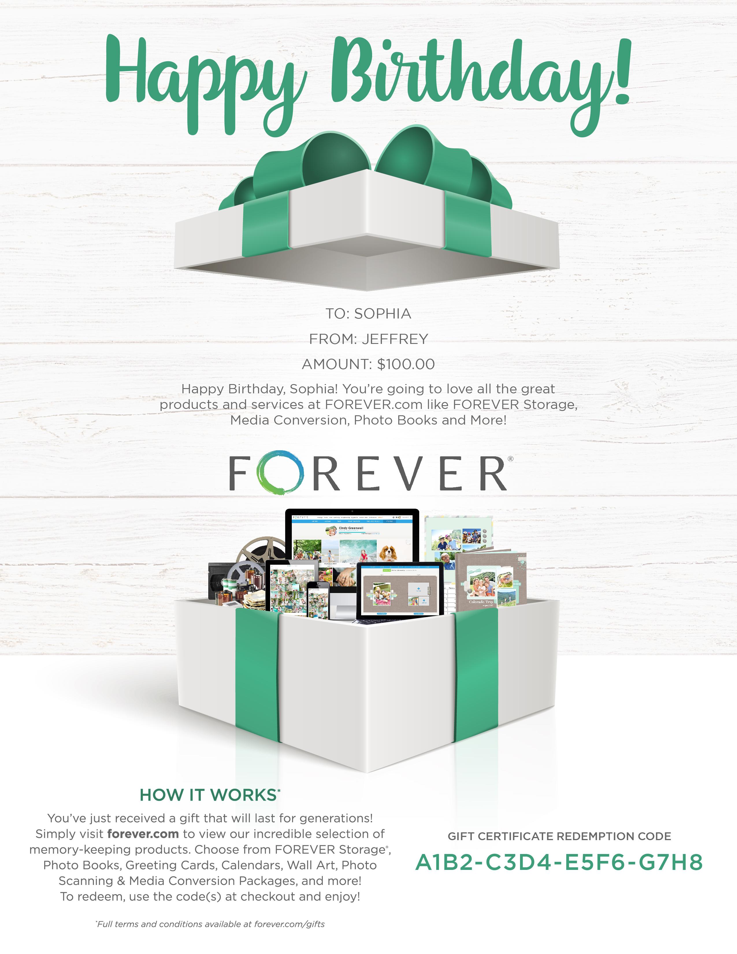 FOREVER Gift Certificate - Birthday Gift