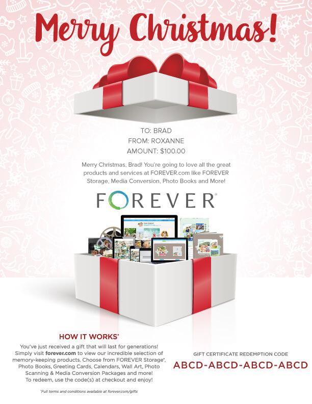 FOREVER Gift Certificate - Christmas Gift