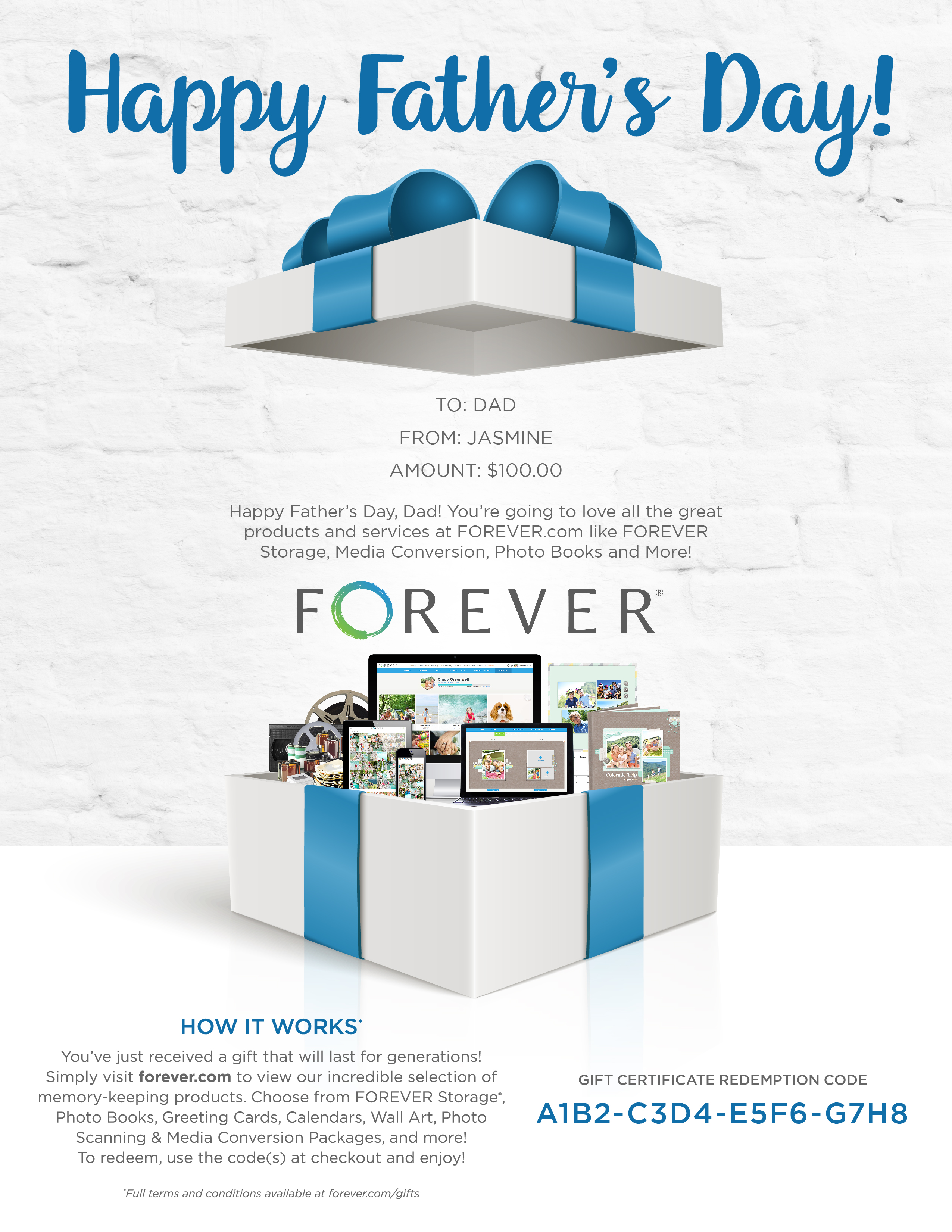 FOREVER Gift Certificate - Father's Day
