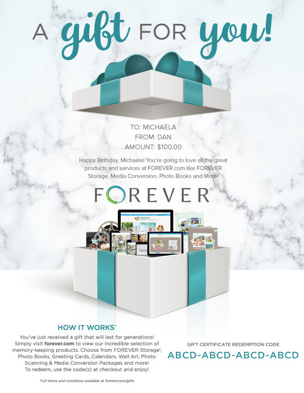 FOREVER Gift Certificate - A Gift For You