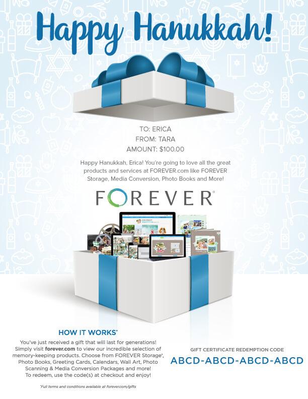 FOREVER Gift Certificate - Hanukkah Gift