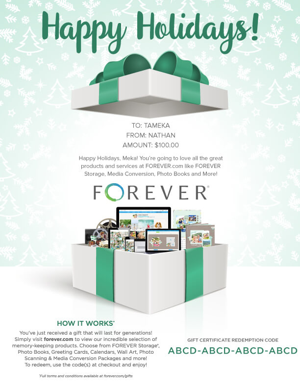 FOREVER Gift Certificate - Happy Holidays