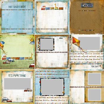 Oh Boy Predesigned Pages 12x12 Digital Art - Digital Scrapbooking Kits