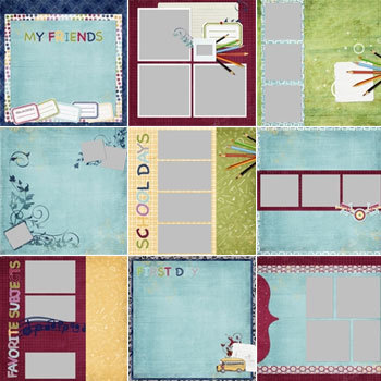 School Days Predesigned Pages 12x12 Digital Art - Digital Scrapbooking Kits