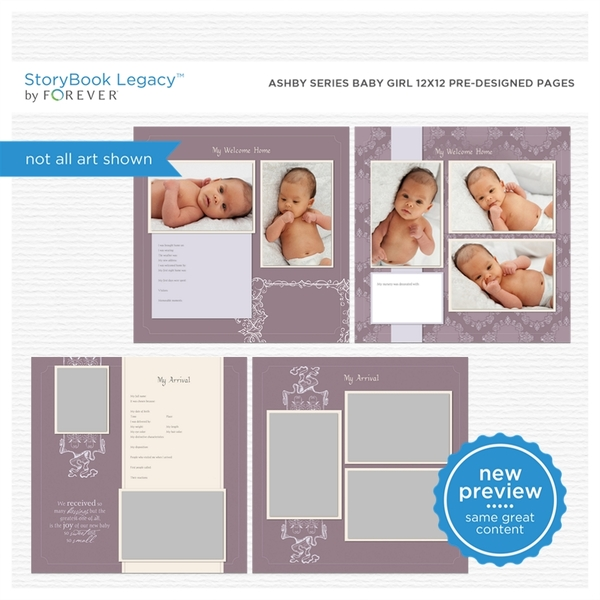 Ashby Series Baby Girl 12x12 Predesigned Pages Digital Art - Digital Scrapbooking Kits