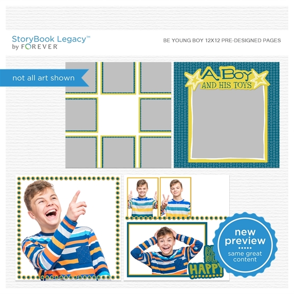 Be Young Boy 12x12 Predesigned Pages Digital Art - Digital Scrapbooking Kits