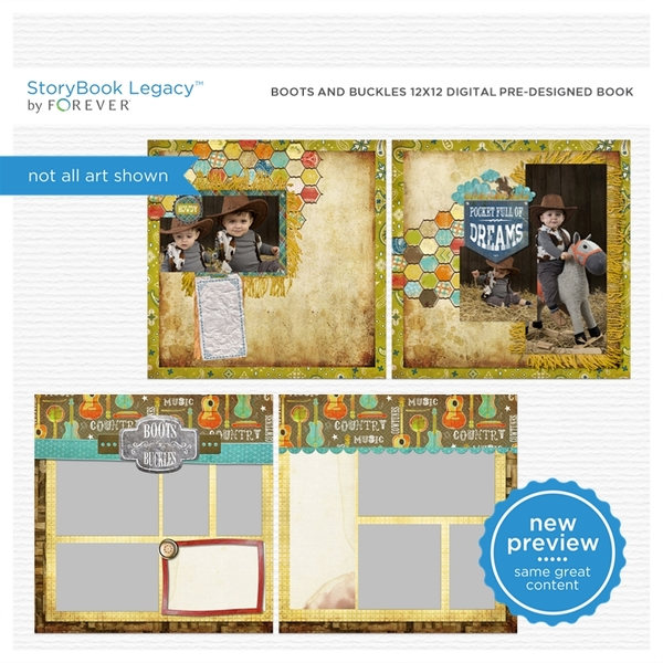 Boots And Buckles 12x12 Digital Predesigned Pages Digital Art - Digital Scrapbooking Kits