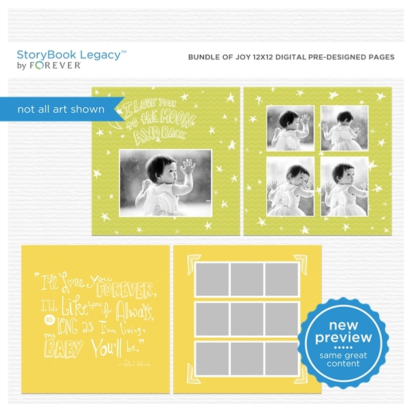 Bundle Of Joy 12x12 Digital Predesigned Pages Digital Art - Digital Scrapbooking Kits