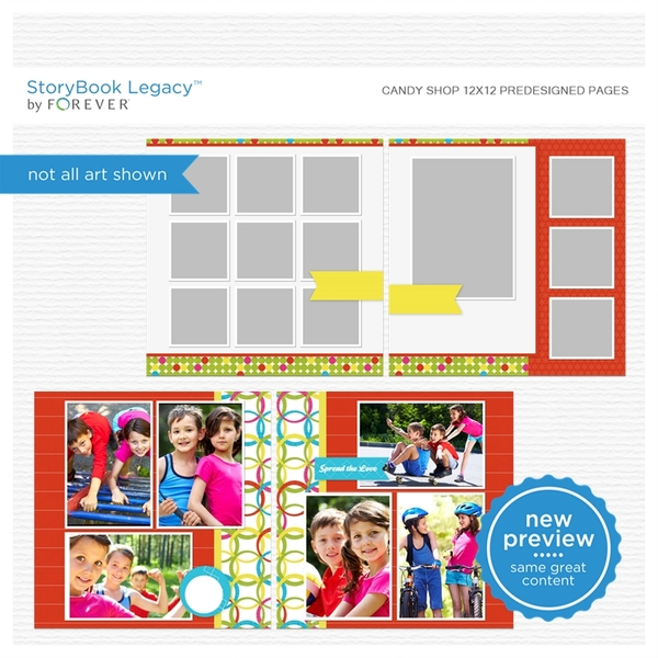 Candy Shop 12x12 Digital Predesigned Pages