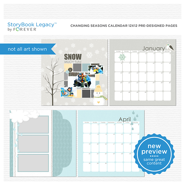 Changing Seasons Calendar 12x12 Predesigned Pages Digital Art - Digital Scrapbooking Kits