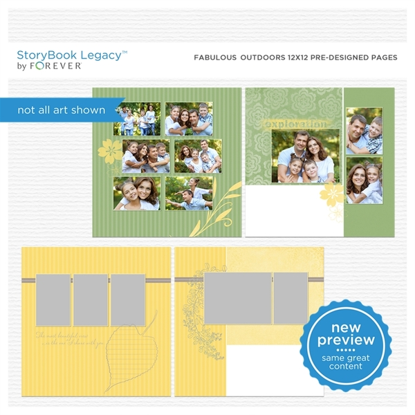 Fabulous Outdoors 12x12 Predesigned Pages Digital Art - Digital Scrapbooking Kits