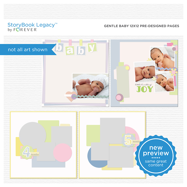Gentle Baby 12x12 Predesigned Pages Digital Art - Digital Scrapbooking Kits