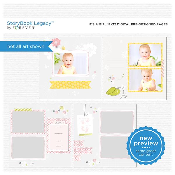 It's A Girl 12x12 Digital Predesigned Pages Digital Art - Digital Scrapbooking Kits