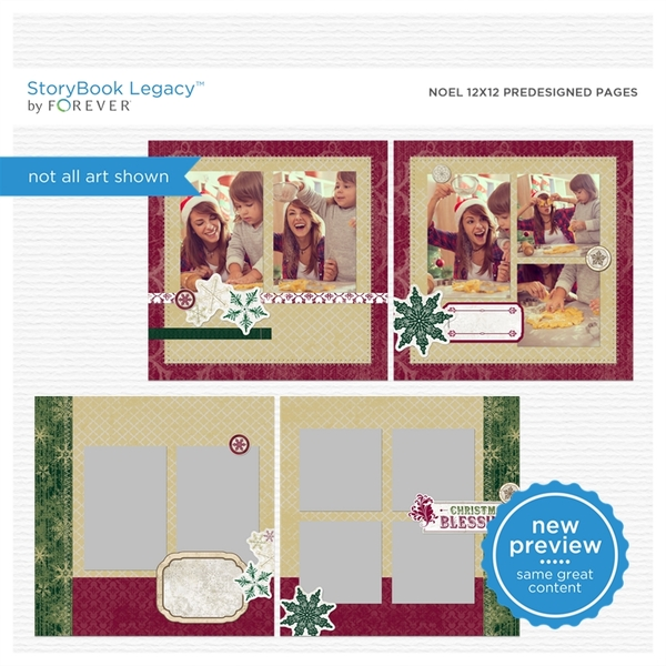 Noel 12x12 Predesigned Pages Digital Art - Digital Scrapbooking Kits