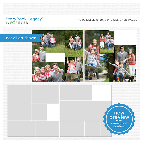 Photo Gallery 12x12 Predesigned Pages Digital Art - Digital Scrapbooking Kits
