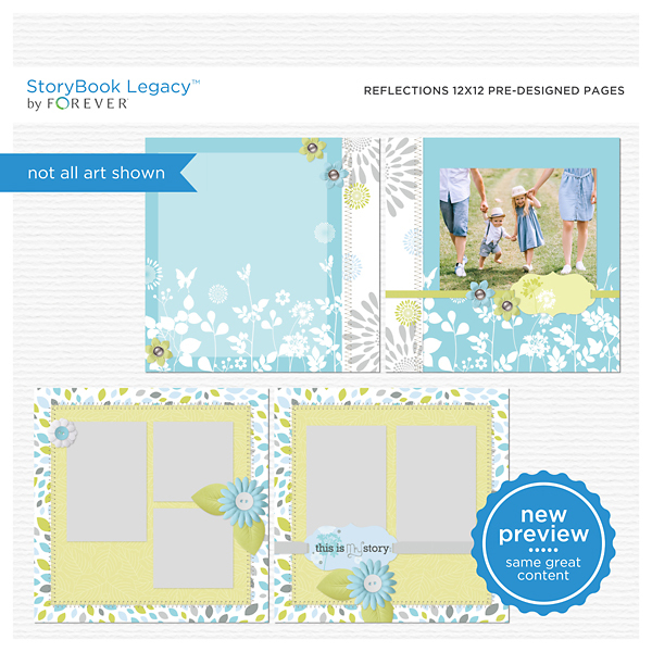 Reflections 12x12 Predesigned Pages Digital Art - Digital Scrapbooking Kits