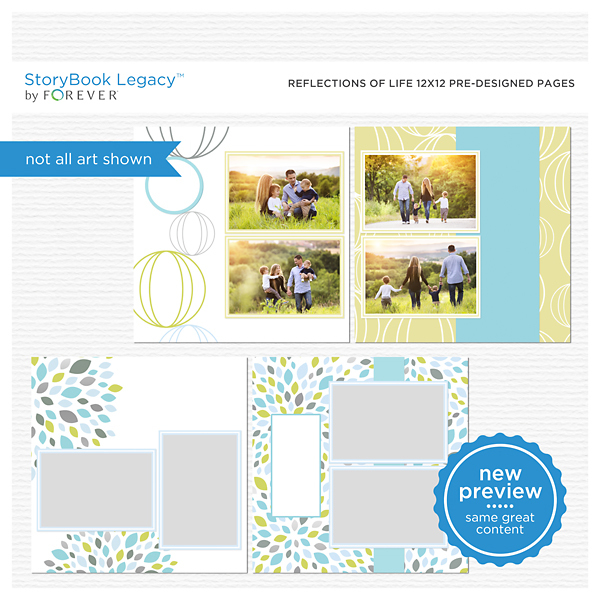 Reflections Of Life 12x12 Predesigned Pages Digital Art - Digital Scrapbooking Kits