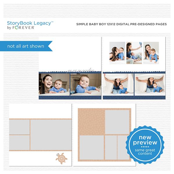 Simple Baby Boy 12x12 Digital Predesigned Pages Digital Art - Digital Scrapbooking Kits
