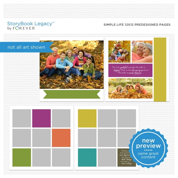 Simple Life 12x12 Predesigned Pages Digital Art - Digital Scrapbooking Kits