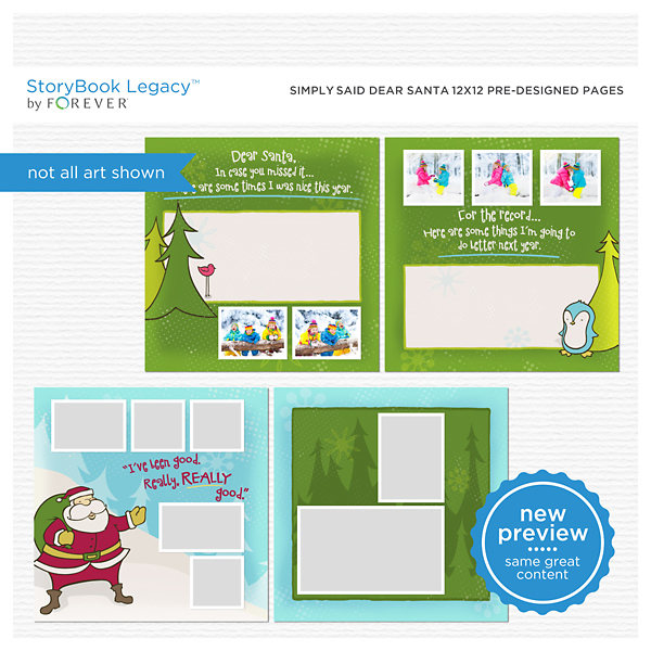 Simply Said Dear Santa 12x12 Predesigned Pages Digital Art - Digital Scrapbooking Kits