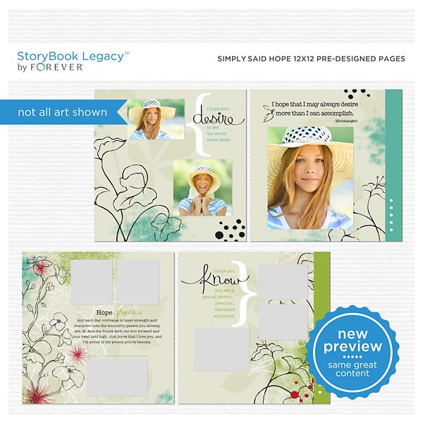 Simply Said Hope 12x12 Predesigned Pages Digital Art - Digital Scrapbooking Kits