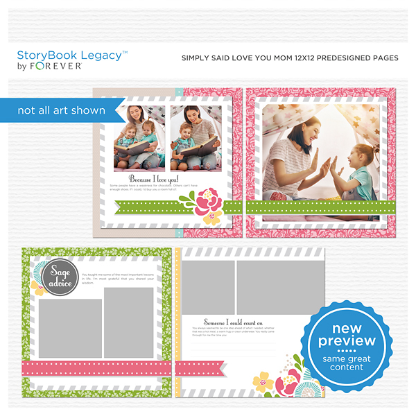 Simply Said Love You Mom 12x12 Digital Predesigned Pages Digital Art - Digital Scrapbooking Kits