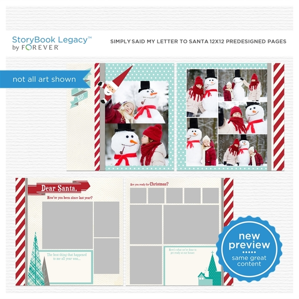 Simply Said My Letter To Santa 12x12 Predesigned Pages Digital Art - Digital Scrapbooking Kits