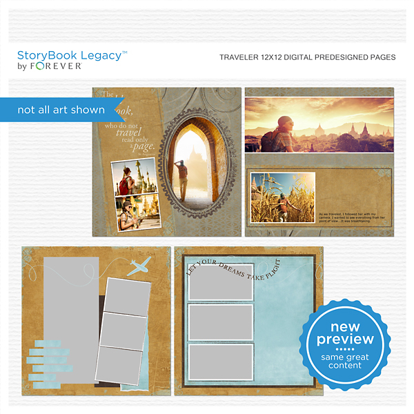 Traveler 12x12 Digital Predesigned Pages