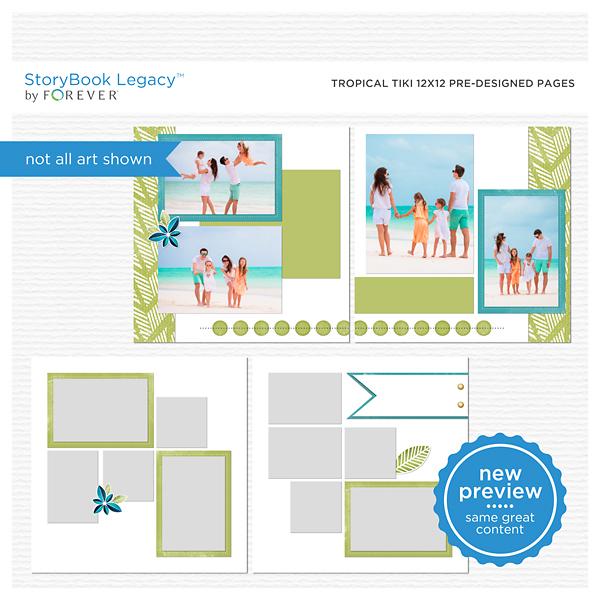 Tropical Tiki 12x12 Predesigned Pages Digital Art - Digital Scrapbooking Kits