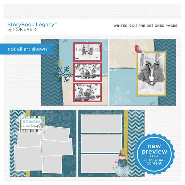 Winter 12x12 Predesigned Pages Digital Art - Digital Scrapbooking Kits