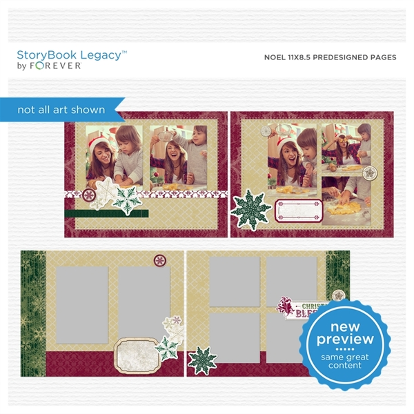 Noel 11x8.5 Predesigned Pages Digital Art - Digital Scrapbooking Kits