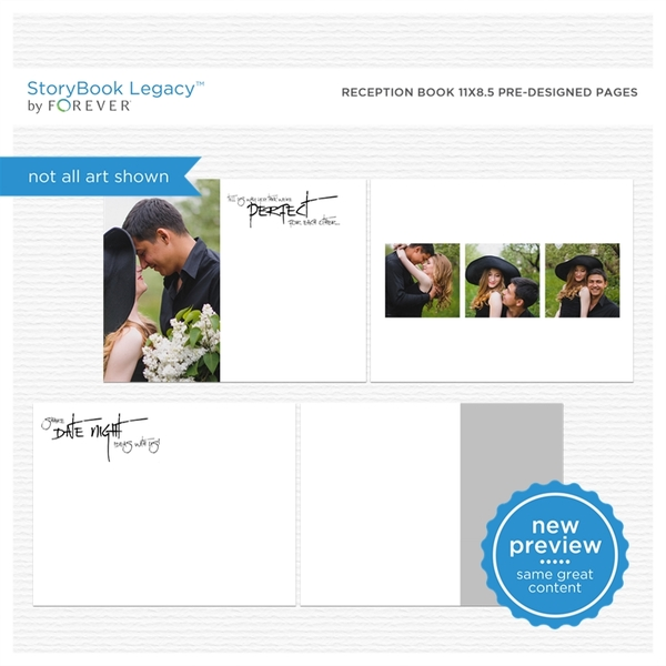 Reception Book 11x8.5 Predesigned Pages Digital Art - Digital Scrapbooking Kits