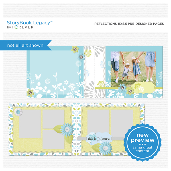 Reflections 11x8.5 Predesigned Pages  Digital Art - Digital Scrapbooking Kits